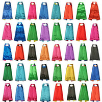 Wholesale PLAIN COLOR cm layer satincostume Halloween Cosplay Superhero Capes kids capes