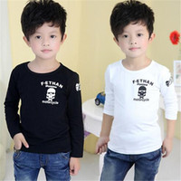 activewear t shirts - Boy Fashion Casual Kids Clothing Tops Long Sleeve T Shirt Children Activewear Boys Skull Printed Shirts Kids Clothing DHL