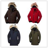 Wholesale BRAND COAT goose DOWN FEATHERS fur hood coats fashion PARKA man HOODED JACKET BLACK RED BLUE