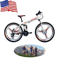 Wholesale US Stock inch Folding Bicycles Speed Mountain Bike Full Suspension Spokes Damping Front Fork White