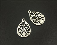 antique gold filigree - Antique Sliver Filigree Pattern Water Drop Shape Charm DIY Handmade Jewelry Findings x25mm A1518