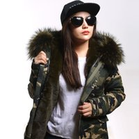 Wholesale plus size New army green Camouflage winter jacket women thick parkas big raccoon natural real fur collar coat hooded
