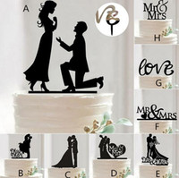 Wholesale Fashion Hot Mr Mrs Wedding Decoration Cake Topper Acrylic Black Romantic Bride Groom Cake Accessories For Wedding Party Favors