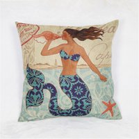Wholesale abstract Mediterranean style cushion cover cartoon mermaid patterned sofa pillow cover printed home pillow cover