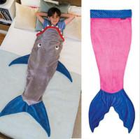 Wholesale Kids Mermaid Sleeping Bag Mermaid Tail Fleece Blankets Soft Handmade Wrap Mermaid Tail Costumes Bed Fish Snuggle in Shark Cocoon free