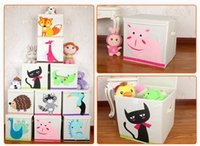 Wholesale toy cartoon animals storage box Housed Barrels Organic Cotton Hang Bag Storage Box Laundry organic toys baskets Childrens Toys Pouch