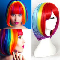 Wholesale Cheap Top Quality inch Rainbow Wigs Short Bob With Bangs Colorful Heat Resistant Synthetic Wigs Cosplay Performance Party
