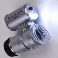 Wholesale SEWS Silver Portable X LED Pocket Mini Microscope Magnifier Jeweler Loupes Glass Lens
