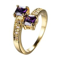 Solitaire Ring South American Women's Unique Jewelry Double Purple Square Zircon Rings For Women Bridal Yellow Gold Filled Wedding Party Ring Birthday Gift