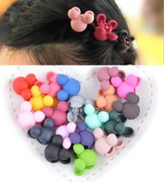 Wholesale Mini Mickey hairpins Girls Hiar Ropes Hair Accessories Baby Girls Clamps Hair Clip Claws Rubber hairbands for Kids Children Pure Color