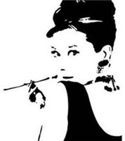 audrey hepburn vinyl - AUDREY HEPBURN Silhouette Wall Vinyl Stickers Art Decal Reusable Removable Decal Size quot H x quot z ZYVA
