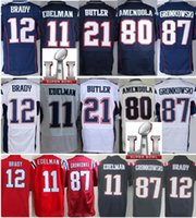 Wholesale Cheap Football Tom Brady Julian Edelman Martellus Bennett Rob Gronkowsk Red White Blue Super Bowl LI Jersey