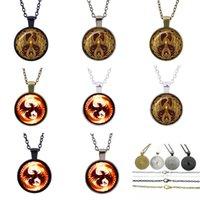 achat en gros de phoenix hd-Vintage charles Phoenix bijoux Cabochon chandail long paragraphe Verre HD Photo Pendentif Chain jewelry couple in Necklaces