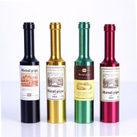 Wholesale Creative Mini Tobacco Pipe Metal Dismountable Smoking Pipes Colored Wine Bottle Shape Smoking Pipes Smoking Accessories Men Women Gifts