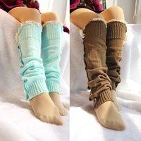 Venta al por mayor-Mejor vendedor de mujeres 2015 Calentadores de pierna lindos recorte Womens Lace Boot Calcetines Calentadores de pierna de punto de acrílico para botas altas Mujeres Invierno