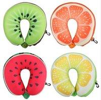 Wholesale Fruit U Shaped Pillow Travel Watermelon Lemon Kiwi Orange Pillows Cushion Nanoparticles Neck Pillow Car Travel Pillow