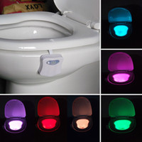 Wholesale 2017 Upgrade High Quality Color Bathroom Toilet Nightlight LED Body Motion Activated Seat Sensor Lamp For AAA Battery