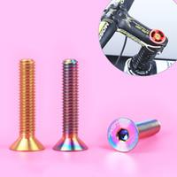 Wholesale M6 mm Bike Screws Titanium Headset Stem Cap Flat Head Bolts Fasteners Bicycle Parts MN0248
