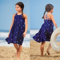 Summer Knee-Length cotton Baby Girls Navy Anchor kids Halter dresses baby girl party dress Cotton Blue Summer Clothing Costume 2101091