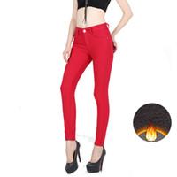 Wholesale 2016 Winter Warm Denim Trousers Women Plus Size High Waist Thick Velvet Slim Elastic Skinny Long Jeans Womens Pantalon Femme W001