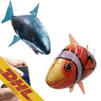 air shark balloon - 24pcs IR RC Flying Air Swimming Inflatable Assembly Clown Fish Shark Clownfish Remote Control Blimp Animal Balloon Toy for Kids