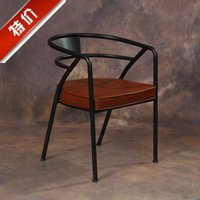 acrylic office chair - American contracted leather chair the meeting chair backrest retro restaurant chair wrought iron chairs office chairs coffee bar chair