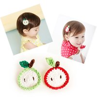 apple hair clips - Colors Available Fashion Cute Crochet Apple Baby Hair Clips Solid Cartoon Fruit Baby Infant Hairpins
