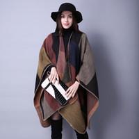 Wholesale 2016 Women fashion Winter Scarf Pashmina cashmere lady all match Plaid Ethnic style split thick Poncho Scarf
