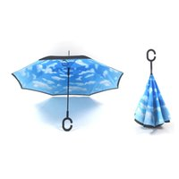 Wholesale Creative Inverted Umbrellas Double Layer With C Handle Inside Out Reverse Windproof Umbrella colors Sunny and Rainy Umbrella