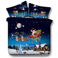 Wholesale High quality Merry Christmas Santa Claus Four Size D Printed Bedding Bedsheet Cotton Bedcover Bedding set