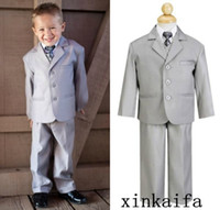 Wholesale 2017 New Hot Sell GRAY THREE BUTTONS KIDS SUITS FORMAL OCCASION Boy s Formal Wear Custom size color for wedding party jacket pant
