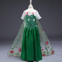Cheap Kids Frozen Fever Dresses Girl Cloak Elsa Anna Princess Party Dresses Lace Yarn Green Flower Dance Dress Frozen Cartoon Cosplay Costume F440