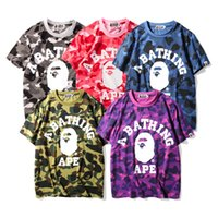 Wholesale new men s multi color men s printing T shirt men and women lovers loose round neck short sleeve T shirt