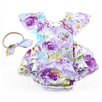 baby flies - Hug Me Baby Rompers Toddler Girls Clothing Spring Summer Fashion Floral Fly Sleeve Romper with Headband EC