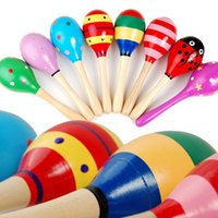 Wholesale Colorful Mini Wooden Maracas Child Maracas madera Party Musical Instrument Baby Rattle Shaker Children Gift Toy Sand Hammer PC