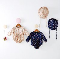 Whole Size baby stands - new arrivals baby kids climbing romper long sleeve flowers print little stand collar romper girl kids romper cap kids rompers T