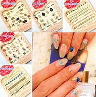 Wholesale 3D Gold Elegant Fashion Designs Decorated Nail Art Water Transfer Decals For Nail Art Tips Beauty DTL075 DTL079