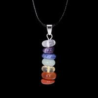 Wholesale Trendy Chakra Pendant Handmade Crystal Necklace Rainbow Amethyst Rose Quartz Crystal Drusy Natural Stone Jewelry