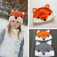 Unisex Winter Crochet Hats 2 Color Fox Hats Autumn Winter Animal Ear Caps Kids Girls Boys Warm Woolen Knitted Beanies Baby Christmas Gift Crochet Hats PPA543