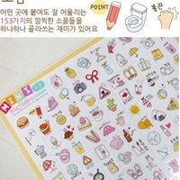 Wholesale 2 Sheets Kawaii Cute Mini Factry Cartoon Pvc Transparent Korean Stickers Papers Flakes Kids Decorative For Cards Stationery