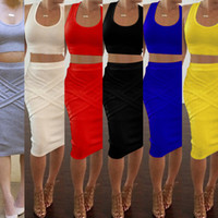 Two Piece Dress Knee-Length Short 6colors Black Red Blue Sexy club party womens Two Piece Dress Sets crop tops outfits Criss-Cross Casual summer 2016 new freeshipping