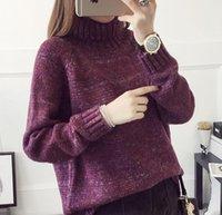 Pullover Maglione a maniche lunghe ispessita allentato lavorato a maglia femminile di modo caldo di nuovo arrivo coreano inverno Collo Donne