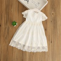 Everweekend Girls Lace brodé d'été Robe blanche Ruffles Princess Holiday Party Dress Western Fashion Clothing Wholesale