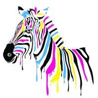achat en gros de décorations d'impression de zèbre-Colour zebra Poster Print Abstrait Animal Wall Picture pour la décoration mur de salon