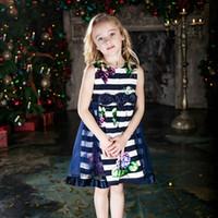 Wholesale CHNDKNY Girls Party Dresses Kids Elegant Navy Summer Girls Dress Baby Tutu Dress for Birthday Girl Dresses Size Age