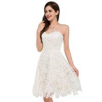 Wholesale In Stock Bridesmaid Dresses Ivory Vintage Lace Short Wedding Dresses Beach Style Bridal Gowns Bride Wedding Dress Robe de Mariee
