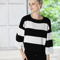 Wholesale Vogue of new fund of wide leg pants sweater suits left shoulder sleeve stripe sweaters easy leisure stripe dress