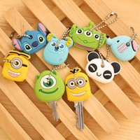 Wholesale Car Styling High quality Kawaii Cartoon Animal Silicone Key Caps Covers Keys Keychain Case Shell Novelty Item