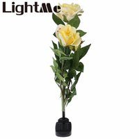 beautiful yard landscapes - New Beautiful House Outdoor Solar Powered LED Light Rose Flower Lamp for Yard Garden Path Way Landscape Pink Red White Yellow