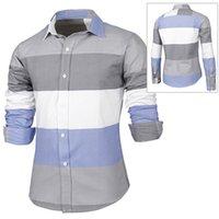 Wholesale Trendy Distinct Color Block Stripes Print Turn down Collar Slimming Long Sleeves Men s Shirt